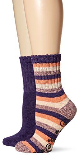 Dr. Scholl's Women's 2 Pack Weekend Lounge Short Crew Socks, Purple/Coral/Pink, Shoe: 4-10