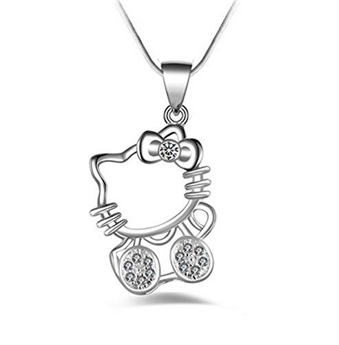 Mohnblume und Marienkäfer Halskette Anhänger–Hello Kitty–Sterling Silber 925/1000