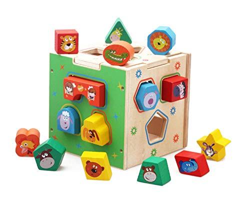 JSKLDF Cubo de actividad para niños, juguete de madera para bebé, cubo de madera para niños pequeños, bloques de construcción, juguetes de aprendizaje, juguetes educativos para niños en edad preescola
