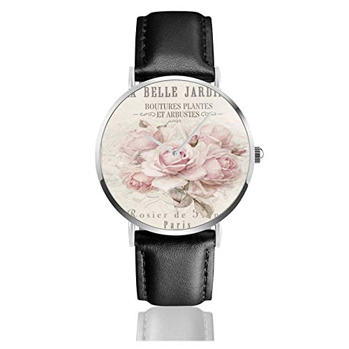 Reloj francés Shabby Chic Movimiento de cuarzo Impermeable Correa de reloj de cuero para hombres y mujeres Simple Business Casual Watch