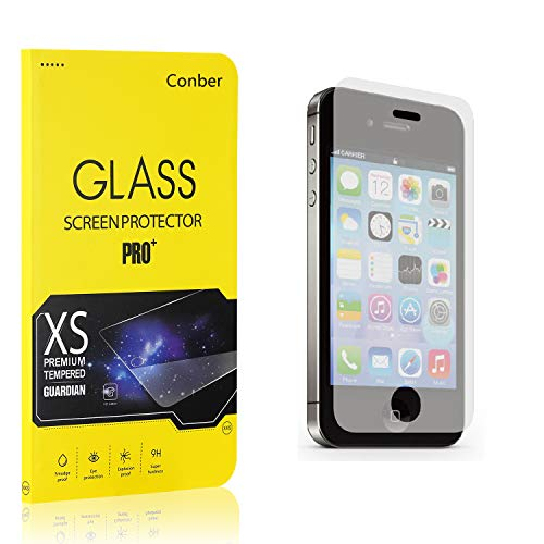Conber (1 Pack) Screen Protector for iPhone 4s / iPhone 4, [Scratch-Resistant][Anti-Shatter][Case Friendly] Premium Tempered Glass Screen Protector for iPhone 4s / iPhone 4