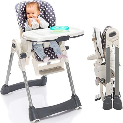 Hochstuhl/Kinderhochstuhl/Babyhochstuhl (8-Fach höhenverstellbar/klappbar/mit Liegefunktion) PREMIUMQUALITÄT (Grau)