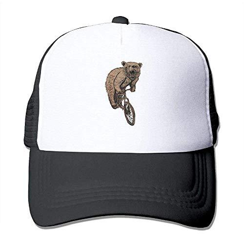 Hoswee Unisex Kappe/Baseballkappe, Bear On A Mountain Bike Men Classic Mesh Back Trucker Hats Adjustable Sport Hat