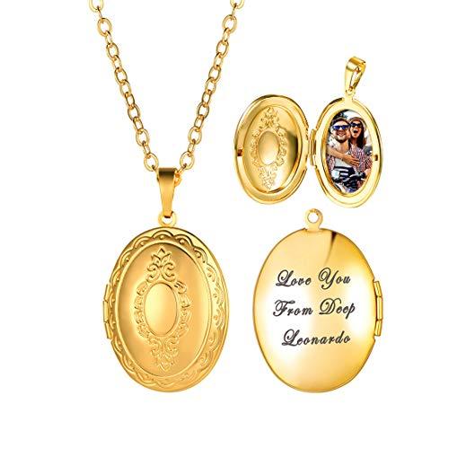 U7 personalisiert Oval Medaillon zum Öffnen mit Kette 18K Vergoldet Photo Bilder Amulett Europäische Foto Anhänger mit Namen Gravur Modeschmuck Damen Mädchen Mutter