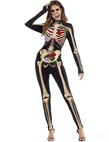 housesweet Disfraces Chica Mujeres Skeleton Skin Suit Bones Disfraz de Halloween Disfraz Mono
