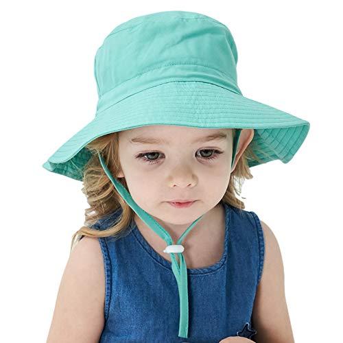libelyef Sombrero de sol para bebé, protección solar UPF 50+ sombrero de playa de ala ancha para verano, correa ajustable para la barbilla para bebés, niñas y niños