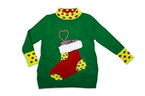 DUBGEE By Whoopi Xmas Stocking Sweater Green
