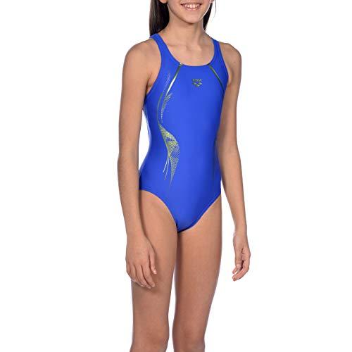 ARENA Mädchen Sport Badeanzug Slinky, neon Blue-Golf Green, 140