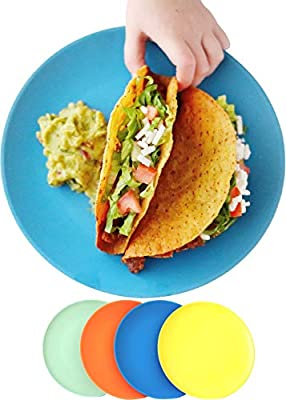 ECO MATTERS?Microwave Safe?Bamboo Toddler Plates - 4 pc Set - Best Eco-Friendly Dinnerware Plate Pack for Children, Dishwasher and Microwave Safe - Natural, BPA Free, Non-Toxic