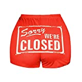 Women Summer Shorts Casual Sexy Buttocks Funny Graphic Letter Print Elastic High Waist Yoga Sport Workout Clubwear Costume
