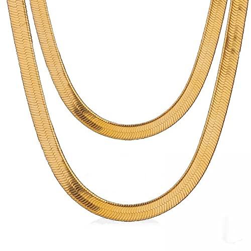 Tianziwen Collar de espejo de oro de 18 quilates Collar de malla de acero / Collar corto de mujer chapado en oro Collar plano de serpiente de 5 mm a 50 cm con joyería de longitud
