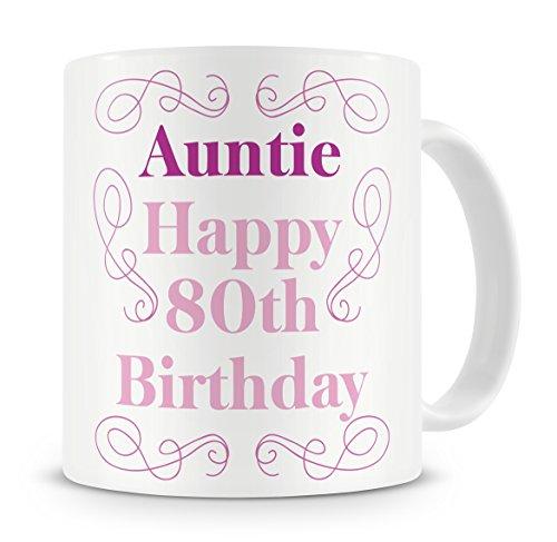 'Auntie, Happy 80th Birthday' Mug - Auntie / Aunty / Aunt - 80th /...