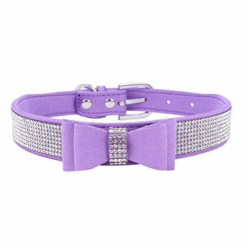 Exquisite einstellbare Bowknot Diamond Dog Puppy hundehalsbänder (30 * 1.5cm,1Lila)