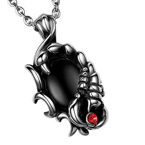 Cupimatch Cool Biker, collana da uomo in acciaio inox, collana con ciondolo scorpione con catenina di 56cm, argento nero
