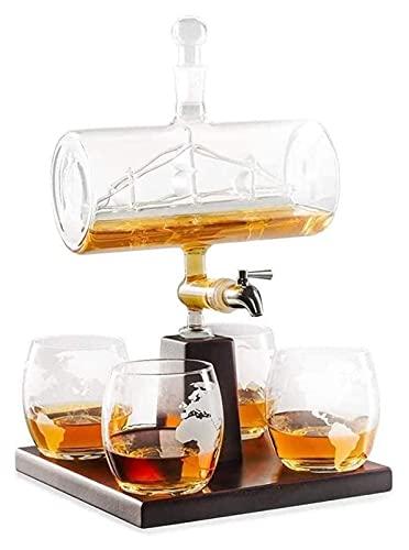 AIEL Whisky Decanter Crystal Whiskey Decanter Set con 4 Gafas y Soporte de Madera de Roble, dispensador de Licor Libre sin Plomo, Elegante, Bebidas, decoración de Barras, Mesa a Domicilio 41