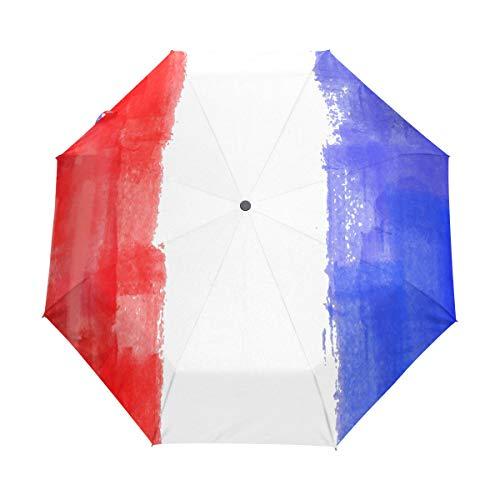 Flag France Paraguas de viaje para niñas y hombres, con apertura automática, pequeña, a prueba de lluvia, 3 paraguas plegable para mujer con protección UV