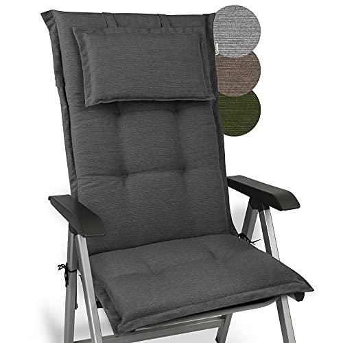 Beautissu Cojín para sillas de balcón o Asiento Exterior con Respaldo Alto Premium - 120x52x7 cm - Cojines para tumbonas y terrazas HighLux HL - Made in EU - Antracita