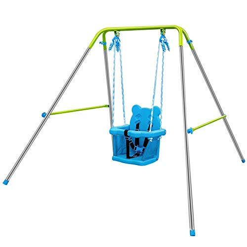 Toddler Swing, Outdoor Indoor Swing Set with Metal Stand, Sturdy Secure Plastic Seat and Safety Harness, Swing Sets for Backyard Playground, Baby Swingset for Infants Age 1-3