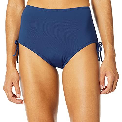 24th & Ocean Women's Standard Core Solids Mid Waist Side Tie Pant Bikini Bottom, Navy, M