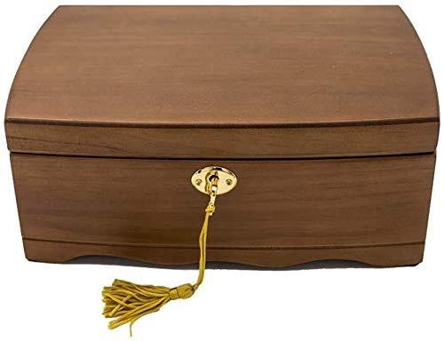 Sconosciuto CS-SSH Portagioie retrò in Legno portagioie Vintage Cosmetici Scatola in Legno Creativo Regalo di Compleanno Orecchini Anello Collana Gemelli, Marrone, 26×18×10cm