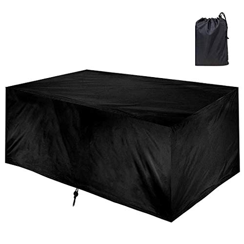 Garden Furniture Covers, Patio Furniture Cover Waterproof, Outdoor Table Covers 420D Heavy Duty Oxford Fabric Rattan Furniture Cover with Windproof Drawstring (Black),270X180X89cm/106X71X35inch