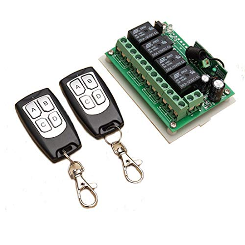 Inalámbrico y Remoto INSMA 12V 4 canales inalámbricos interruptor de control remoto Relay 2 Transceptor con 1 Receptor