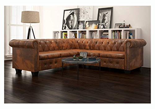 Sofa, Chesterfield Corner Sofa 5-Seater Brown Faux Leather