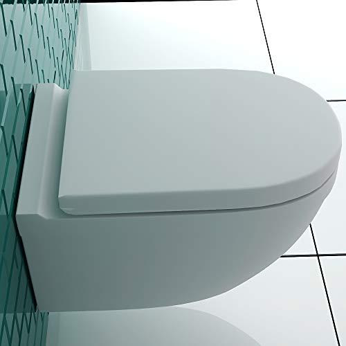 Wand-WC Spülrandlos Weiss Keramik Hänge Toilette inkl. Duroplast WC-Sitz mit Soft-Close Funktion passt zu GEBERIT - 5