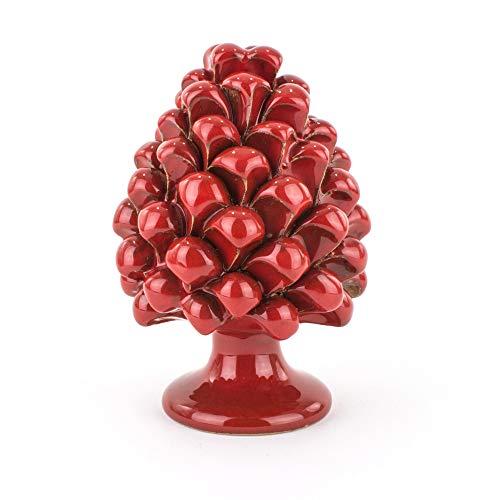 Pigne rouge H 20 cm en faïence artistique de Caltagirone faite à la main, cadeau de Noël