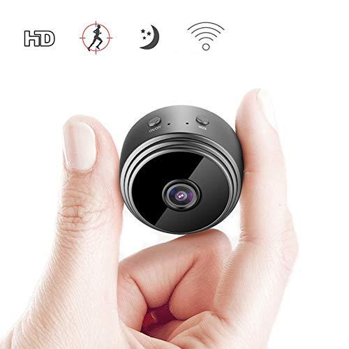 Mini cámara WiFi Full HD 1080P cámara de vigilancia Interior, cámara Micro WiFi con detección de Movimiento y visión Nocturna por Infrarrojos, Interior/Exterior, Gran Angular, cámara de Seguridad IP
