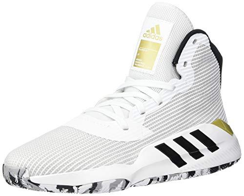 adidas Men's Pro Bounce 2019 Basketball Shoe, White/Black/Gold Metallic, 11 M US