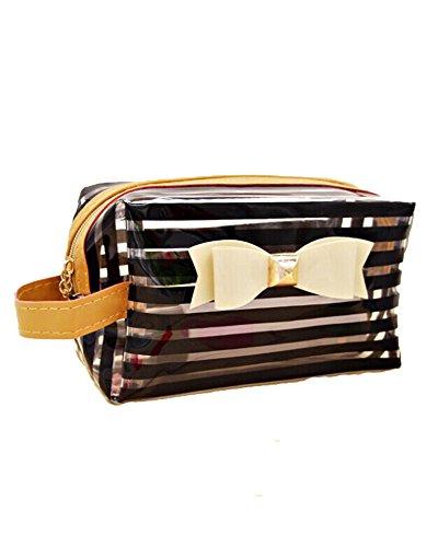 DAYAN New Mode Stripe PVC transparent Voyage Bow Tie Cosmetic Faire main Case Sac de toilette cadeau Up