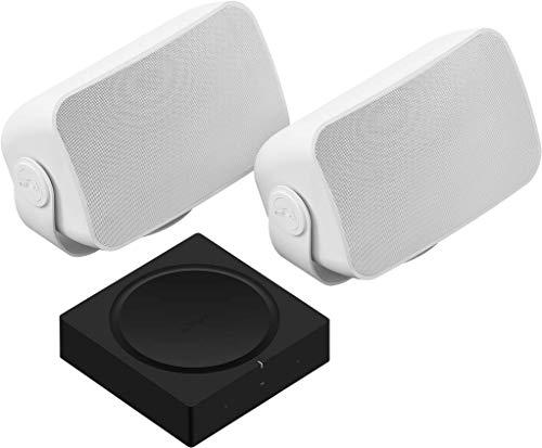 Sonos Amp Set | mit 1 Paar Sonos Outdoor Speaker by Sonance - (passiv, kabelgebunden, wetterfest für Sound im Freien)