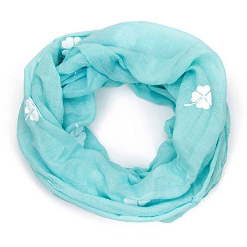 MANUMAR MANUMAR Loop-Schal für Damen   Hals-Tuch in hellblau mit Kleeblatt-Motiv als perfektes Herbst Winter Accessoire   Schlauchschal   Damen-Schal   Rundschal   Geschenkidee für Frauen und Mädchen