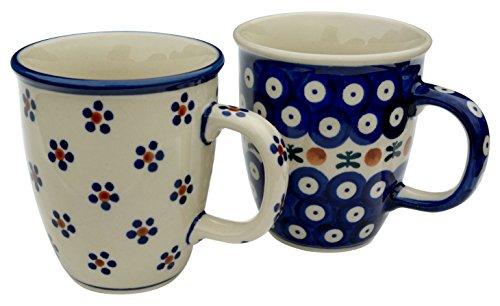 Bunzlauer Keramik Manufaktura Paar Set aus 2 Bechern Mars, Keramik, Kobaltblau, 9 cm, 2-Einheiten