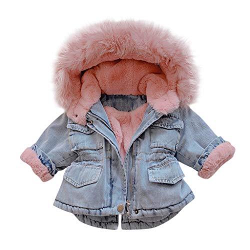 Deloito Kleinkind Baby Jeansjacke Herbst Winter Kinder Mädchen Denim Outwear mit Kapuze Faux-Pelz Vlies Warmer Steppjacke Pelzkragen Starker Mantel (Rosa-A,100/2-3 T)