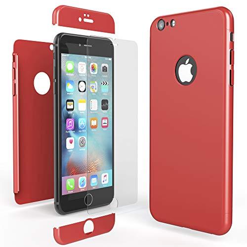 NALIA Funda Integral Compatible con iPhone 6 6S, Carcasa Completa con Cristal Templado, Ultra-Fina Movil Cubierta Dura Bumper Delantera y Trasera Hard-Case Smart-Phone Cover, Color:Rojo