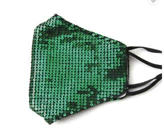 Fashion Sequin Glitter Cotton Masks for Women Filter Pocket and Filter Included   Glamour Masks (Green)