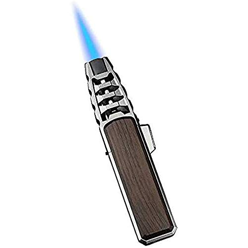 Parayung Turbine Torcher Torch Feuerzeug Jet Flame Winddichtes und nachfüllbares Butan für Candle Camping BBQ Küche (Butan Nicht enthalten) (Braun)