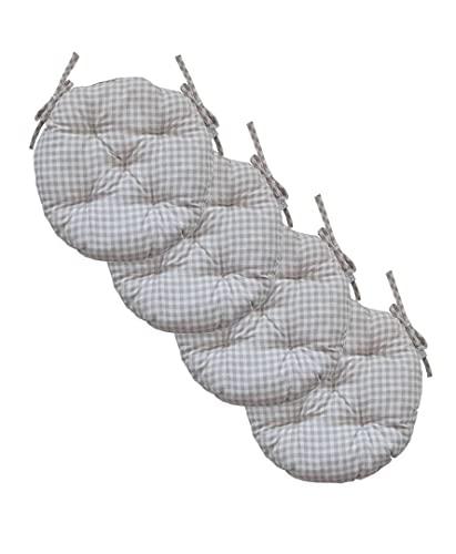 textile4home Set di Quattro Cuscini Rotondi per Sedia Bella Grey Checks/Diametro: 40 cm / 88% Cotone, 12% Poliestere/Imbottitura: holofiber