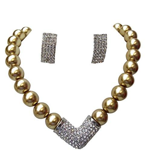 Qualität Perlen Golden Luscious Brautschmuck Hochzeit Kristall Party Halskette Schmuck Set