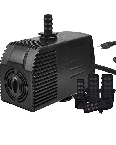 Simple Deluxe LGPUMP400G 400 GPH UL Listed Submersible 15' Cord Water Pump for Fish Tank, Hydroponics, Aquaponics, Fountains, Ponds, Statuary, Aquariums & Inline, 1-Pack, black
