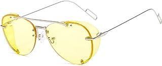QWKLNRA - Gafas De Sol para Hombre Marco De Color Plateado Lente Amarilla Ultraligero Steampunk Against-UV Anti-Scratch Gafas De Sol Modernas Moda Punk Shades Uv400 Ciclismo Viajes Pesca Gafas De Sol