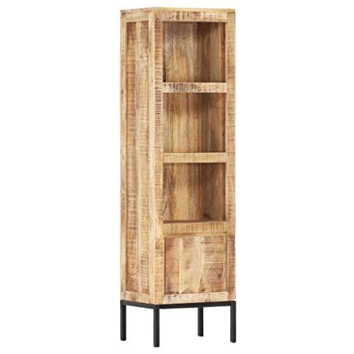 vidaXL Raues Mangoholz Massiv Highboard mit 1 Tür 3 Regalen Kommode Bücherregal Schrank Vitrine Bücherschrank Standregal 38x30x137cm