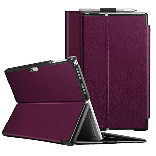 Fintie Case for Microsoft Surface Pro 7 Compatible with Surface Pro 6 / Surface Pro 5 12.3 Inch Tablet, Hard Shell Slim Portfolio Cover Work with Type Cover Keyboard (Purple)