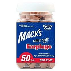 top rated Mack Super Soft Foam Earplugs, Pair 50 – Maximum NRR Value 33 dB, Comfortable Earplugs,… 2021