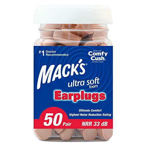 Mack's Ultra Soft Foam Earplugs, 50 Pair - 33dB Highest NRR,...
