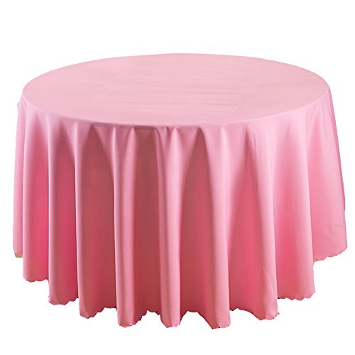 TEERFU Lot de 2 nappes Rondes de 177,8 cm pour Mariage/Banquet/Restaurant Tissu Polyester, Polyester, Rose, 70inch