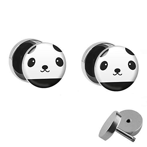 Treuheld® | Set - Panda - 2 oorstekers om te schroeven - ZWART-WITE beer fake plugs - Ø 10 mm - oorbellen fake plug - zilveren oorring in zwart-wit met beertje - Chirurgisch staal faketunnel