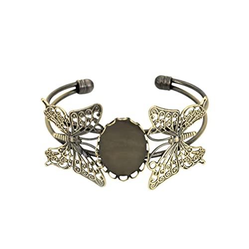 LIXBD Armband Lünette DIY Kupfer Armreif Grundplatte Zeit Glas Patch Cabochon Tablett Armreif Armband Schmuck Zubehör 18 x 25 mm